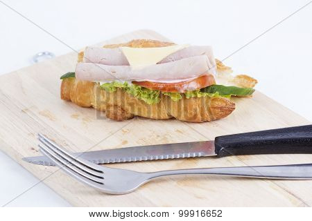 Croissant Sandwich With Ham Cheese