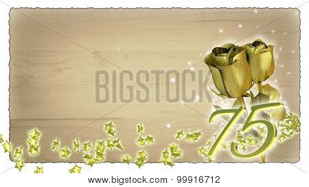 birthday concept with golden roses and star particles - 75th