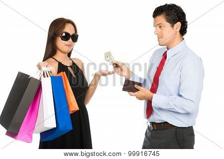 Shopaholic Wife Palm Out Money Reluctant Husband