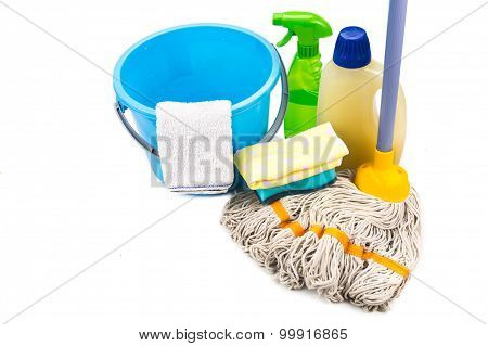 Home Cleaning Tool Set Of Detergent, Mop, Sponge, Spray, Towel And Pail.