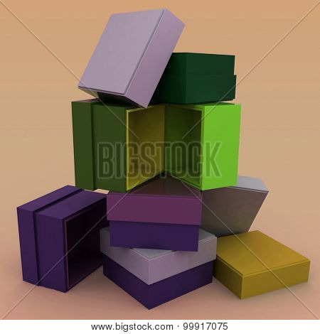 3D empty boxes with cover for gifts