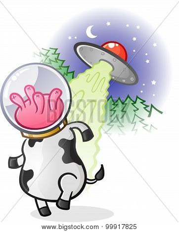 Alien Cow Cartoon Character