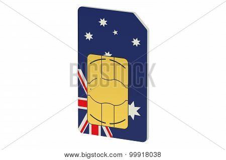 Sim Card With Flag Of Australia