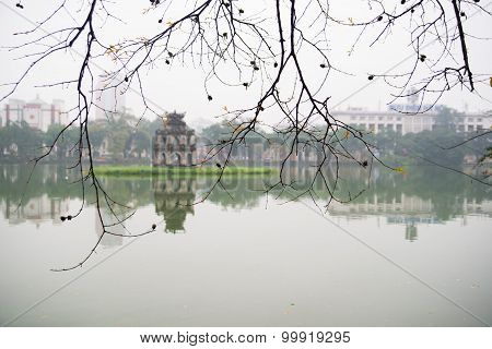 Turtle tower in Sword lake in spring in Hanoi, Vietnam