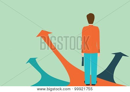 Businessman Standing On The Arrow With Many Directions Ways,choices Concept.