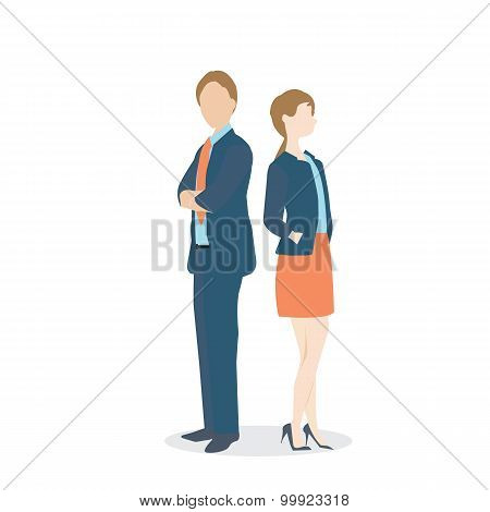 Businesswoman And Businessman In Formal Suits.