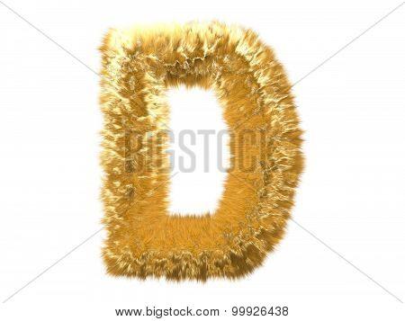 Letter D from fur fox alphabet