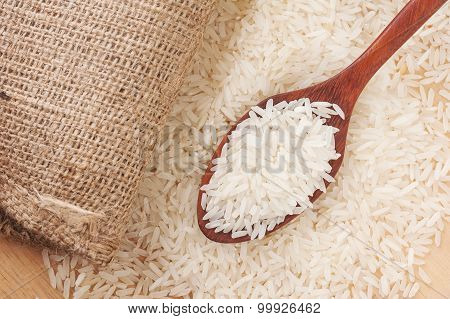 Rice, White Rice In Wooden Spoon With Hemp