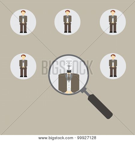 Magnifying Glass Focused On A Person.