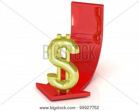 Reducing dollar, white background