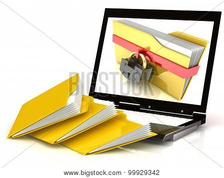 Laptop protect data on white background, 3D