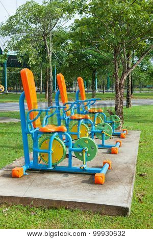 Exercise Equipment In Public Park In The Morning At Thailand