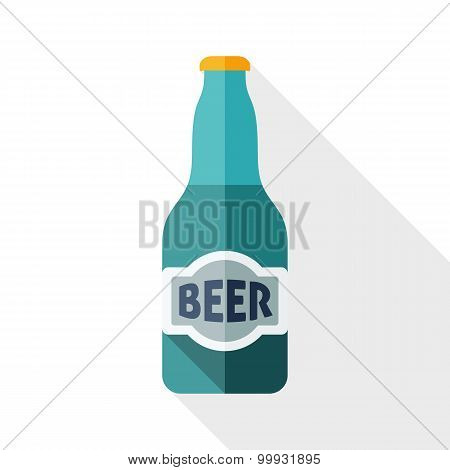 Beer Bottle Icon With Long Shadow On White Background