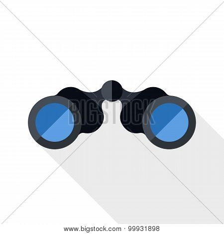 Binoculars Icon With Long Shadow On White Background