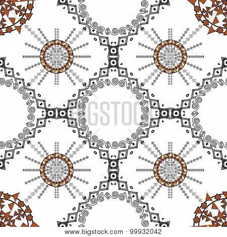Pattern With Ethnic Simmetric Ornaments