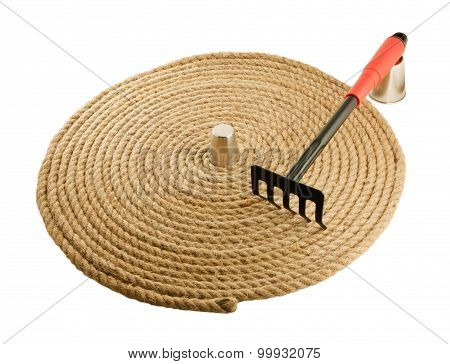 Garden Rake And  Rope