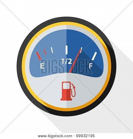 Fuel Gauge Icon With Long Shadow On White Background