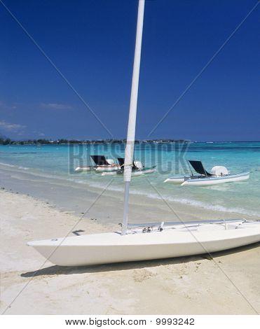 Grand Baie Beach With Boats Mauritius Island
