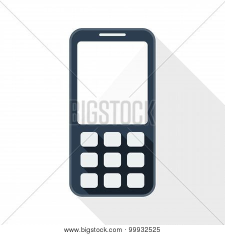 Mobile Phone Flat Icon With Long Shadow On White