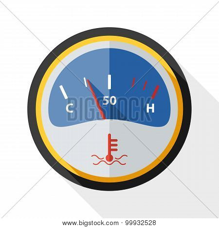 Motor Temperature Gauge Icon With Long Shadow On White Background