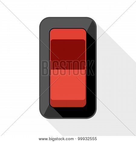 Power Switch Flat Icon With Long Shadow On White Background