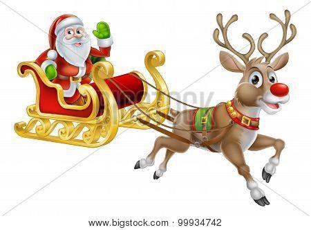 Santa Christmas Sleigh Sled