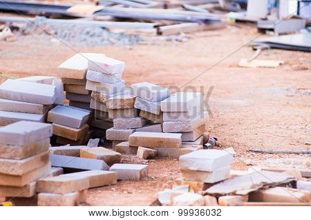 Cement Scrap Bricks From Building Construction Waiting For Dispose