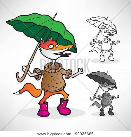 red fox in a sweater, pink boots and a green umbrella in the rai