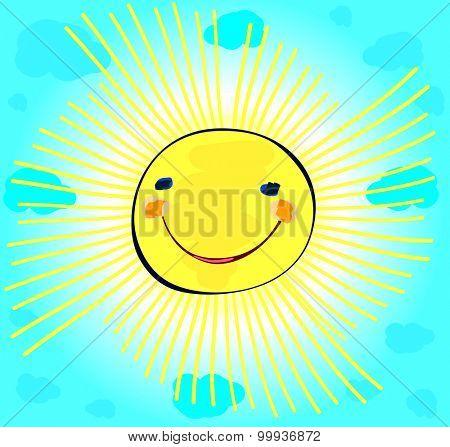 happy sun on light blue cloudy sky, childlike painting