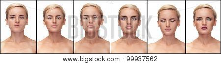 Collage Of Process To Apply Make Up On Woman