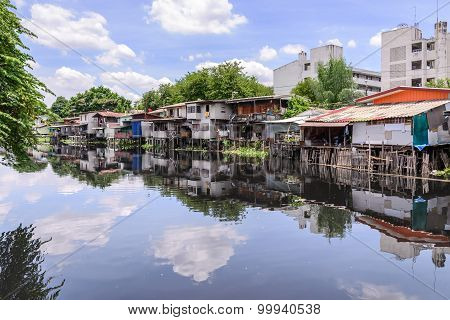 Urban Ghetto House Village Canal Side In Bangkok Thailand.