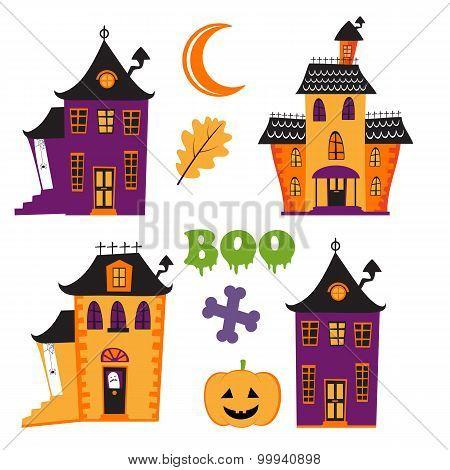 Halloween set with haunted houses