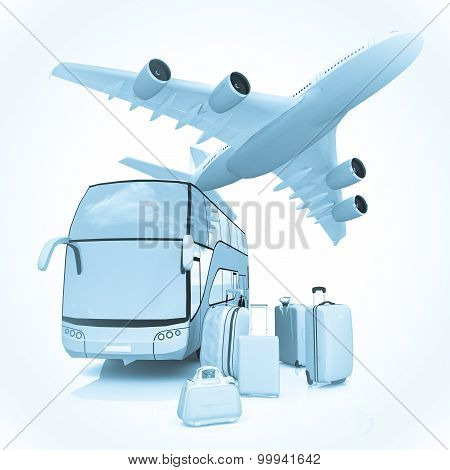 Air and Bus traffic with a luggage