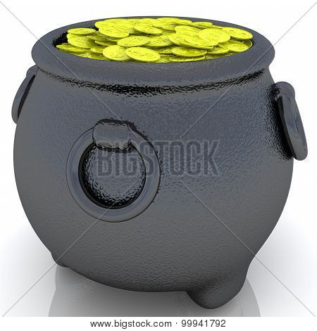 Pot of gold coins.