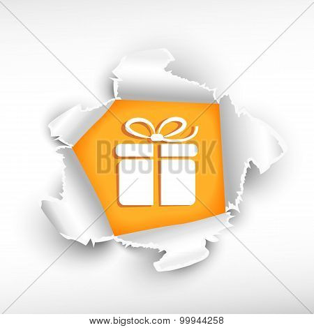 Gift Box And Breakthrough Paper Hole