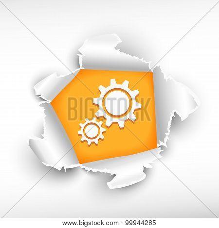 Cogwheel And Breakthrough Paper Hole