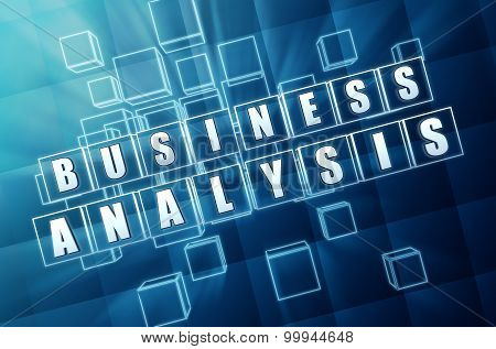 Business Analysis In Blue Glass Cubes