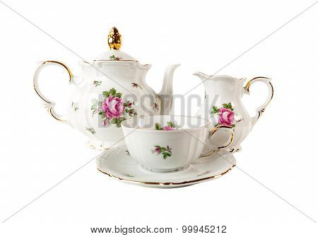 Porcelain Tea Set  with floral rose ornament