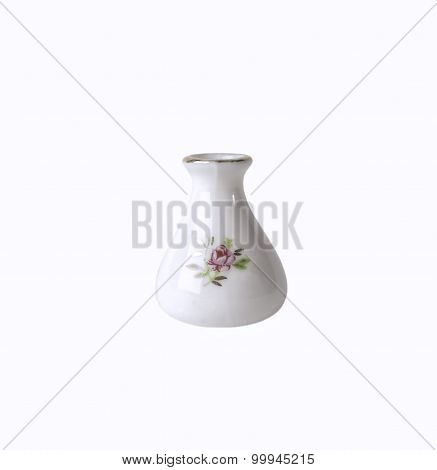 White porcelain flower vase with floral ornament isolated on white background