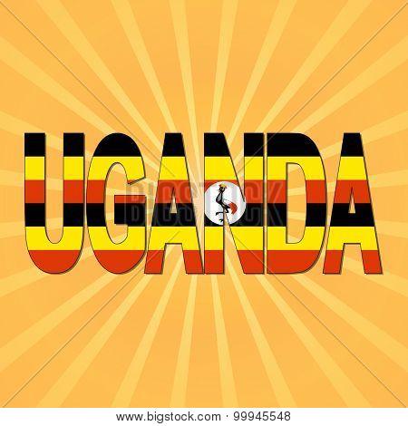 Uganda flag text with sunburst illustration