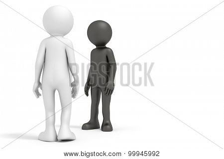 An image of a black and a white man meeting