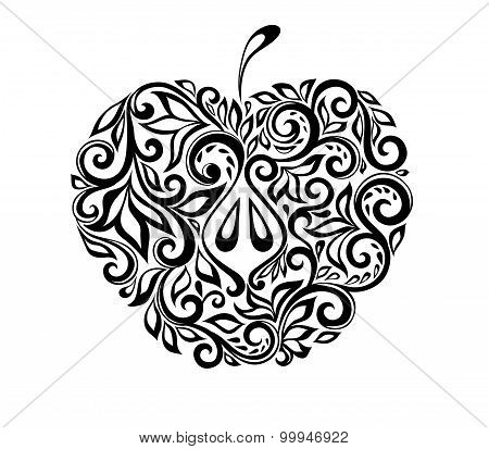 Beautiful Black And White Apple Decorated With Floral Pattern.