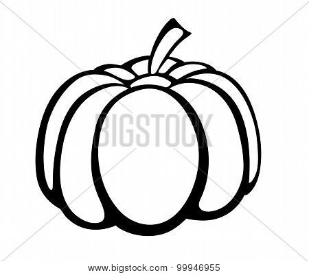 Vector Monochrome Illustration Of Pumpkin Logo.