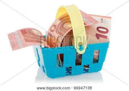 Euro Banknotes In Shopping Basket