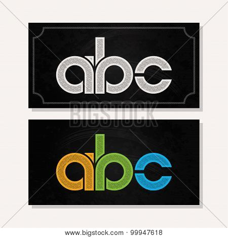 letter A B C logo alphabet chalk icon set background