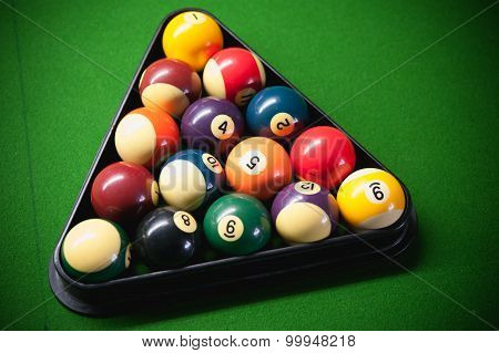 Pool Balls On Green Snooker Table