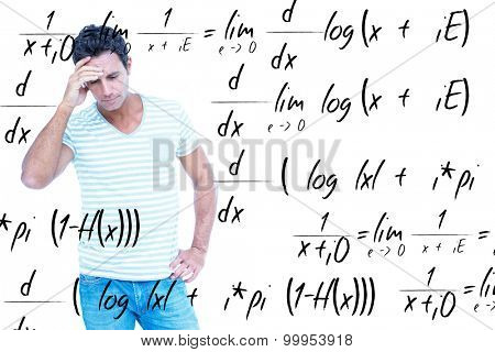Concentrating man against maths equation