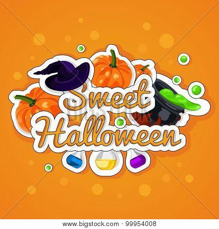 Sweet Halloween. Happy Halloween. Poster, postcard for Halloween. The holiday, pumpkins.