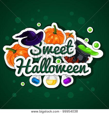 Sweet Halloween. Happy Halloween. Poster, postcard for Halloween. The holiday, pumpkins