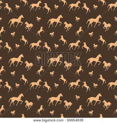 Brown horses seamless pattern